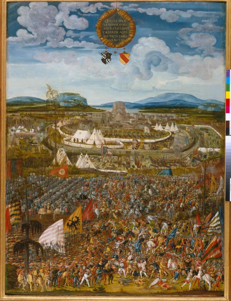 Melchior Feselen: The Battle of Alesia in the yeDetail of Melchior Feselen, The Battle of Alesia in 52 B.C. Dated 1533. Bayerisches Nationalmuseum Munich, Germany
