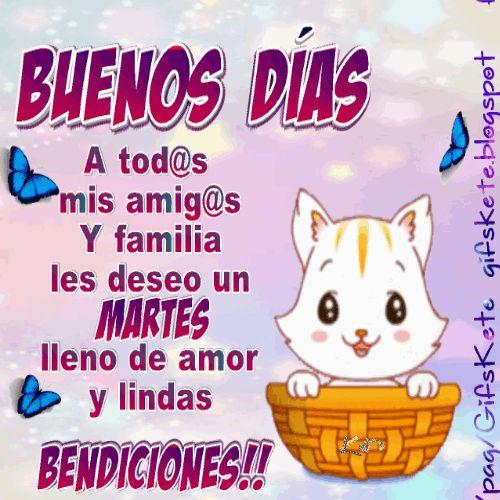 Buenos días,a tod@s mis amig@s y familiares se les desea un hermoso martes .lleno de amor y lindas bendiciones !!