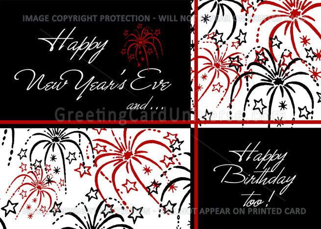 Happy New Year Rsquo S Eve Birthday Card Red Black White Fireworks Card Ad Spon Eve Birthday Happy New Year Cards New Year Card Happy New Years Eve