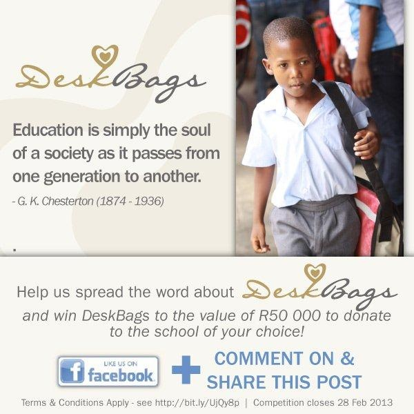 Education is simply the soul of society as it passes from one generation to another. - G.K. Chesterton   Support the DeskBags initiative - like our facebook page and share the message: http://www.facebook.com/DeskBags