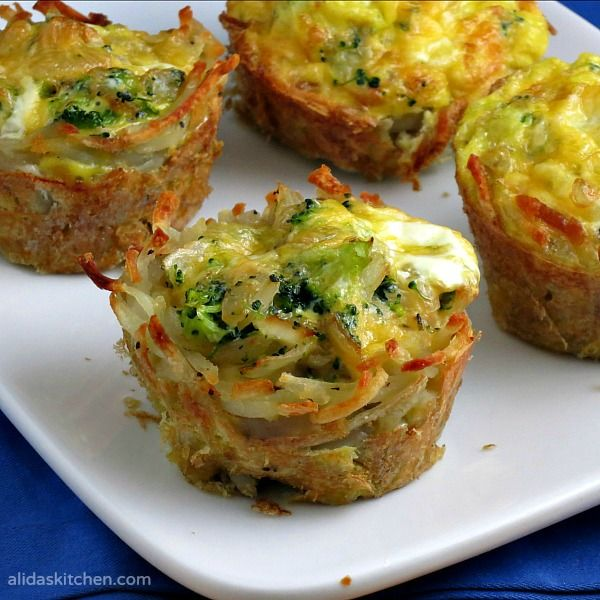 Broccoli, Cheddar & Egg Hashbrowns Cups are shredded potatoes baked in a muffin tin and then filled with broccoli, cheddar cheese and eggs.
