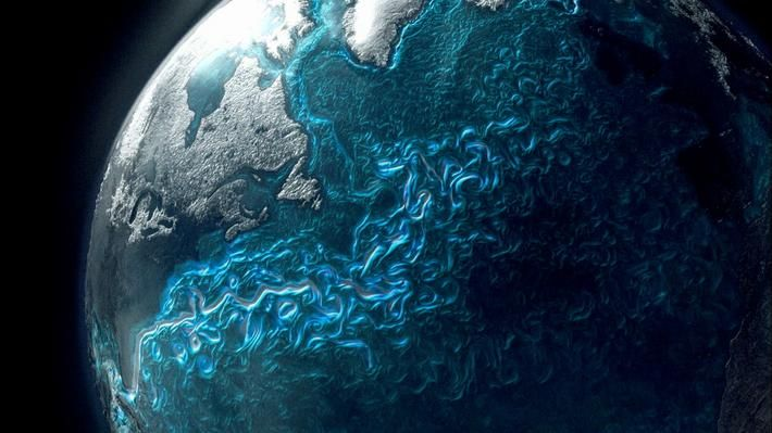 """In this video from NOVA: """"Earth From Space,"""" learn about patterns of global ocean circulation, which distribute heat around the planet. Differences in the density of water masses drive large-scale ocean currents. Dense water forming over the continental shelf of Antarctica is exported to the adjacent deep ocean, creating streams of very cold water that spread northward along the sea floor into the global oceans. Visualizations show the constant motion and flow of ocean currents. ..."""
