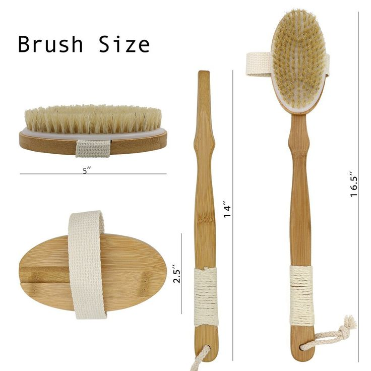 Bamboo Body Brush with Boar Bristle Made By Bellaves with Detachable Hand Grip Handle, Perfect for Dry Skin Brushing, Shower and Bath,an Essential for Cellulite Reduction , Skin Exfoliation, Detox