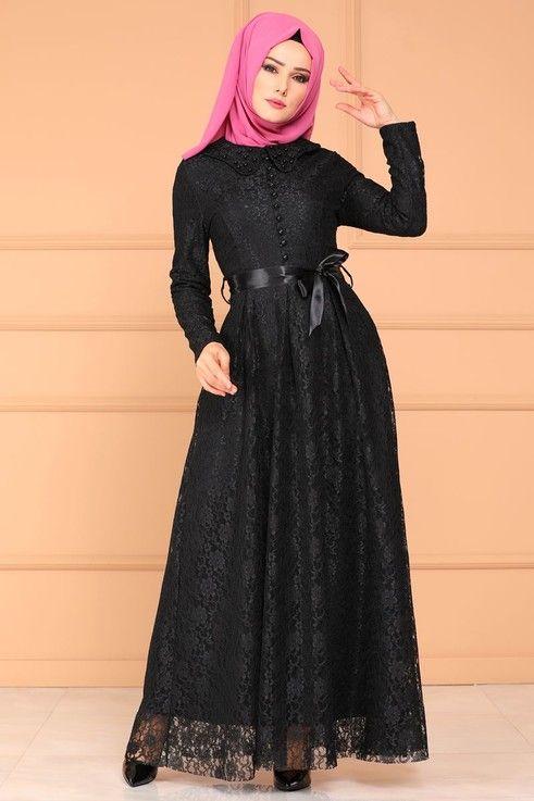 88524930227aa ELBİSE Aksesuar Düğmeli Dantelli Elbise 5115MP186 Siyah | Elbiseler ...