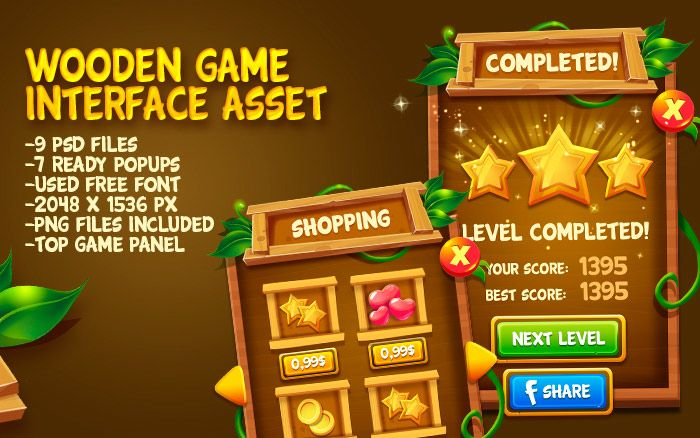 Fairytale Wooden Game UI Pack
