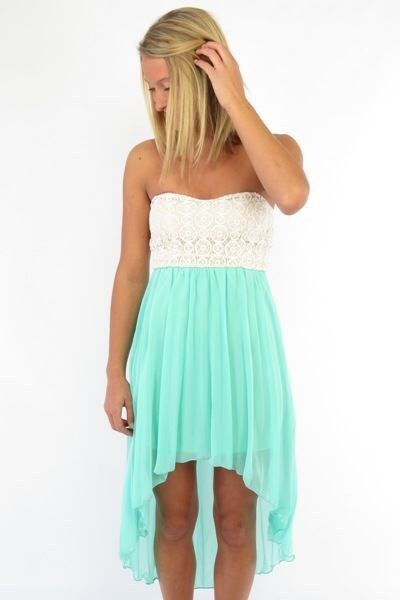 Cute Dresses | High Low Dress | Teal and White