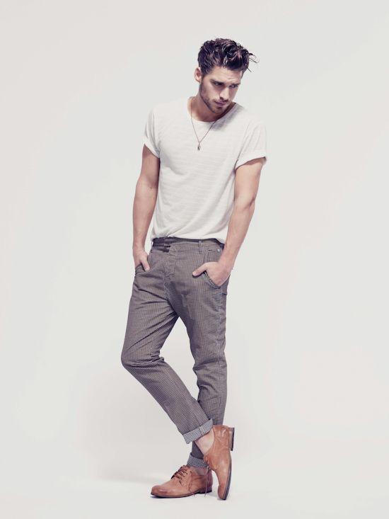 Cuffed Tee + Pants casual #men #fashion #mensfashion #man #outfit #fashion #style #mensfashion #inspiration #handsome #modern #hot