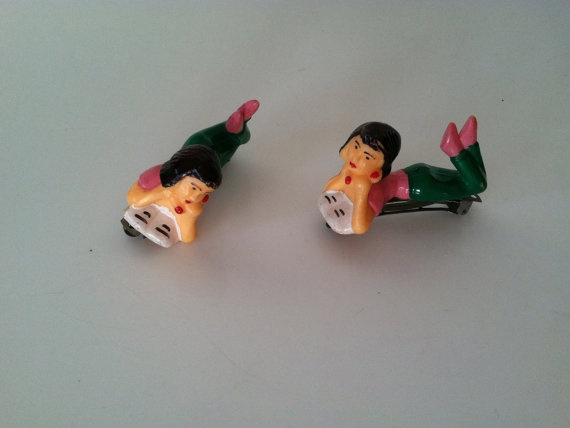 pair of 80s reclining teenager Hair clips by WildCreatures on Etsy, $38.00
