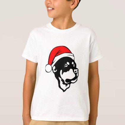 #Rottweiler Dog wearing Red Christmas Santa Hat T-Shirt - #rottweiler #puppy #rottweilers #dog #dogs #pet #pets #cute