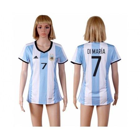 Argentina Fotbollskläder Kvinnor 2016 #Di Maria 7 Hemmatröja Kortärmad,259,28Kr,shirtshopservice@gmail.com