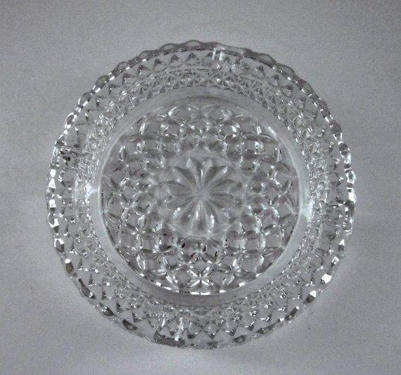 Mid Century Vintage Pressed Glass Ashtray Crystal Cut