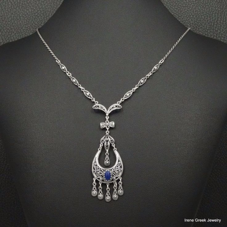RARE NATURAL LAPIS FILIGREE STYLE 925 STERLING SILVBER GREEK HANDMADE NECKLACE #IreneGreekJewelry #Pendant
