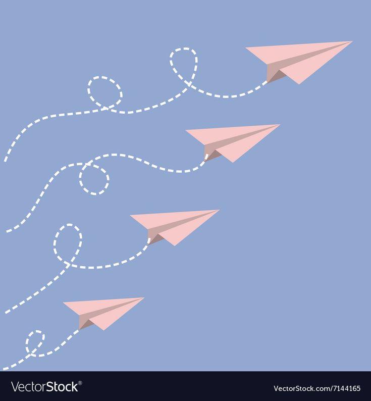 Origami Papier Flugzeug Set Dash Linie Schleife in der Vector Image, # gesponsert, # Flugzeug, … – Business Vector Stock Photos