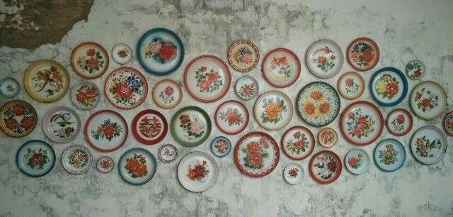 Enamel trays on the wall