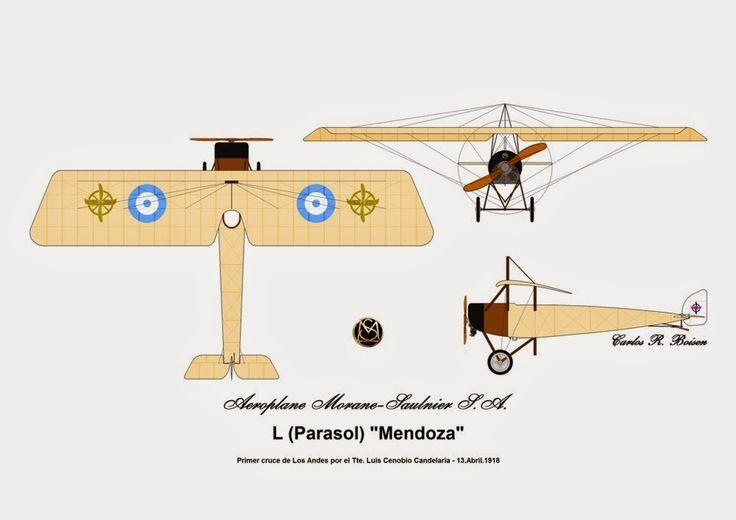 """El día 13Abr18, culminaba el vuelo del entonces Teniente (Ingeniero) Luis Cenobio Candelaria al unir Zápala en Neuquen (Argentina) y Cunco (Chile) logrando de este modo el Primer cruce de la cordillera de Los Andes. El aparato empleado, un Morane-Saulnier tipo """"L"""" Parasol con motor rotativo de Le Rhône de 9 cilindros, refrigerado por aire y con una potencia de 80 hp., había sido donado a la Escuela de Aviación Militar por el pueblo de Mendoza operando en la misma entre los años 1915 y 1923…"""