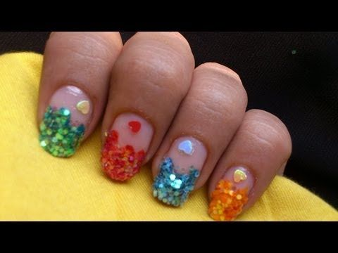 Sequin Nail Art    Colorful How To Do Sequin Nail Polish Designs At Home  Step