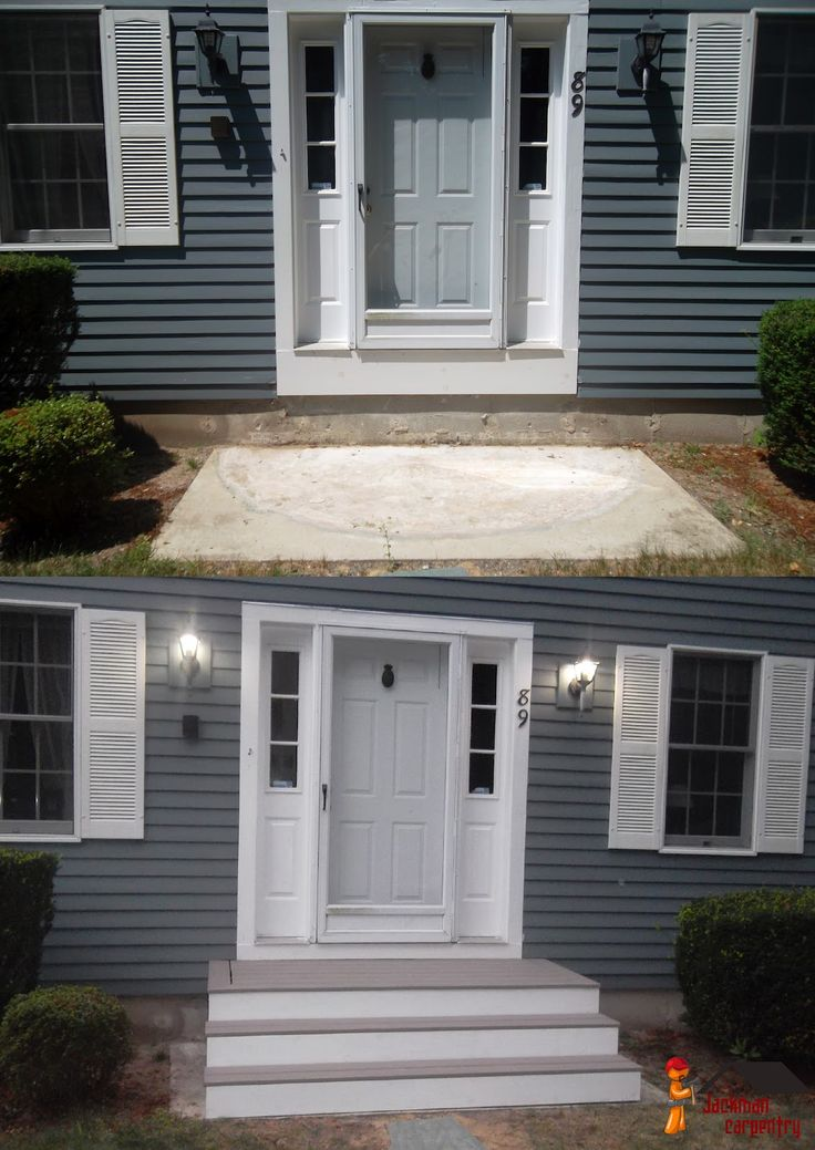 Front of Home Walkway Ideas: This home uses offset layers to add walkway  style