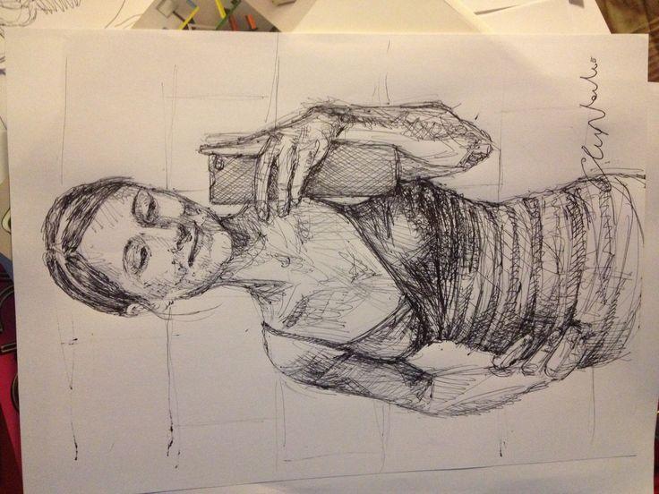 Self portrait of a selfie :) - black pen drawing by Chiara Nardo