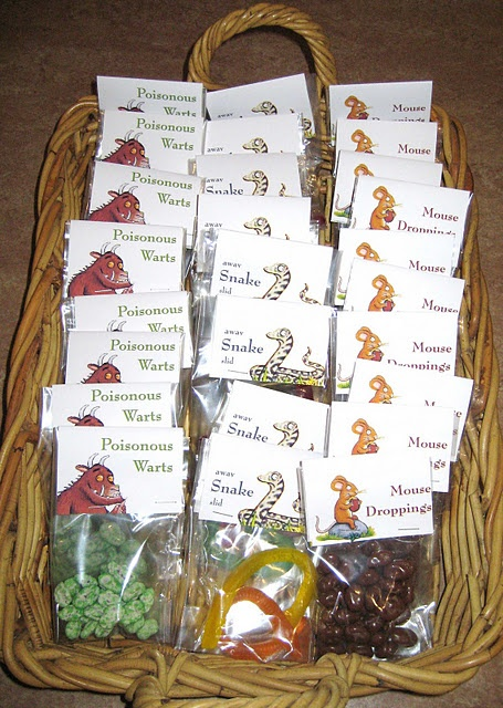 "The possibilities offered by the story of ""The Gruffalo"" for take home party bags were most entertaining - mouse droppings (chocolate covered sultanas), snakes (lolly snakes) and poisonous warts (again) (yoghurt covered sultanas dyed green with food colouring)."