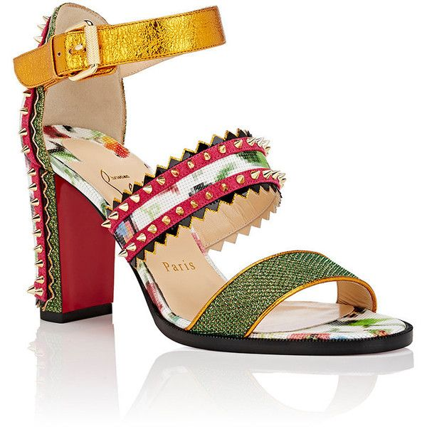 Christian Louboutin Women's Montezumina Triple-Strap Sandals (£1,010) ❤ liked on Polyvore featuring shoes, sandals, floral high heel sandals, glitter sandals, metallic strappy sandals, floral sandals and multi colored sandals