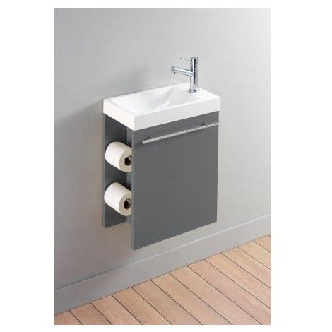 Pack complet meuble lave-mains avec distributeur de papier toilette Gris anthracite laqué - Salle de bain, WC