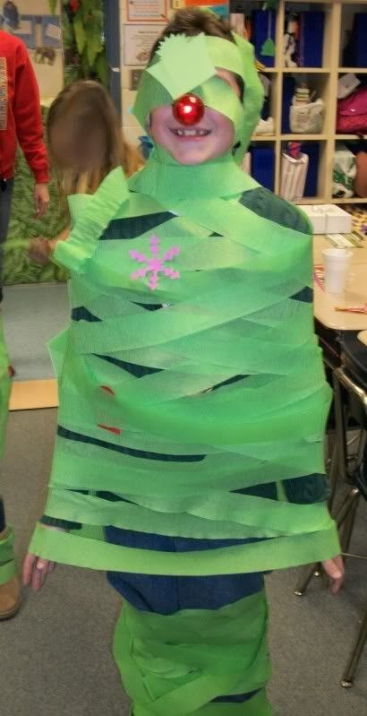 Christmas tree relay game: Each team was given a roll of green crepe paper and ornaments. They had to decorate one person from their team to look like a Christmas tree. I did this with my class letting them use the wrapping paper and ribbon from our recently open gifts as ornaments!! Big hit!!