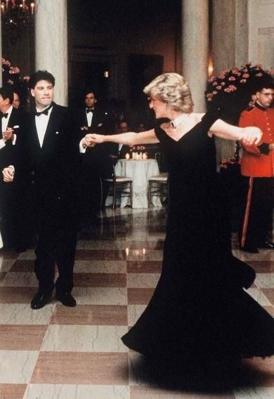 Princess Diana in a midnight blue velvet dress by Victor Edelstein