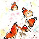 Orange Butterflies by Corinne Matus