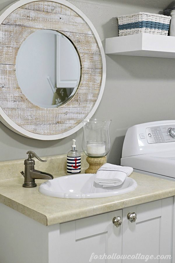 Nod To Nautical Bathroom Makeover Reveal Vanity Mirrors Vanities And Budget Bathroom Makeovers