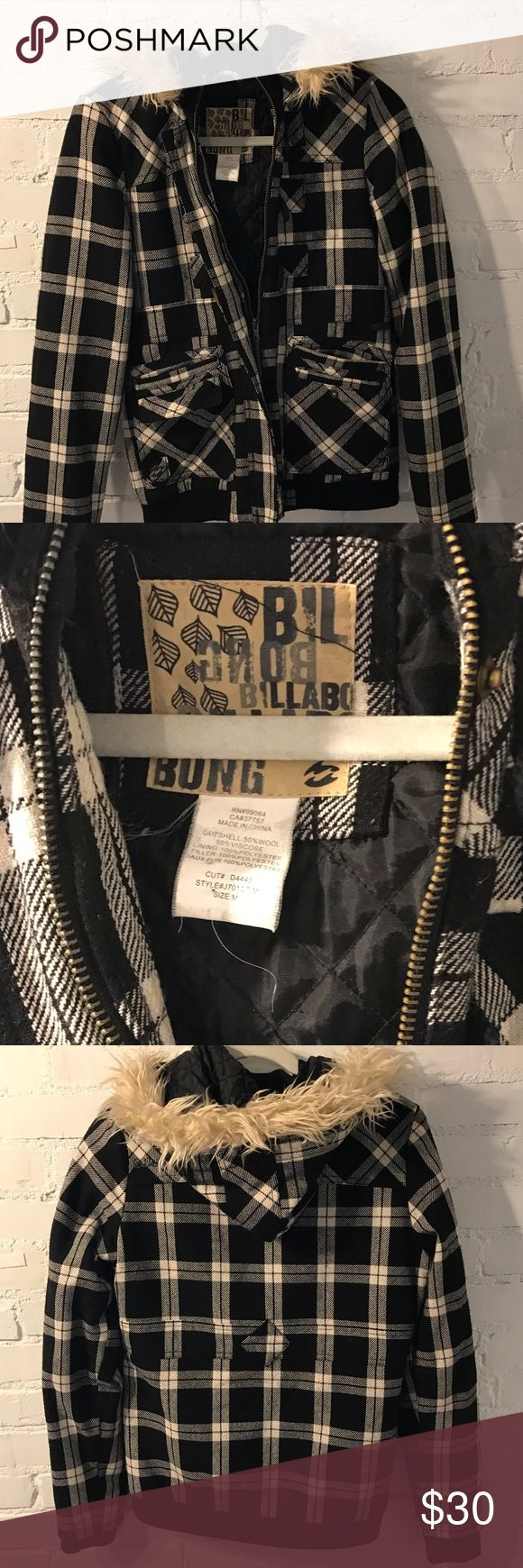 Billabong Plaid jacket Black and white trendy Plaid jacket with quilted interior and fur hood.  Fitted with tight waistband. Billabong Jackets & Coats