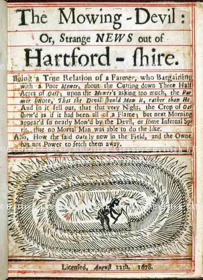 13 Oct: The Mowing-Devil: or, Strange News out of Hartford-shire - 1678 woodcut pamphlet #HalloweenCountdown  http://twitter.com/ZoeTypelark
