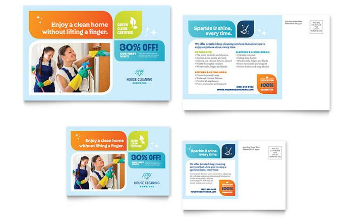 Cleaning Services Postcard Template Design by StockLayouts