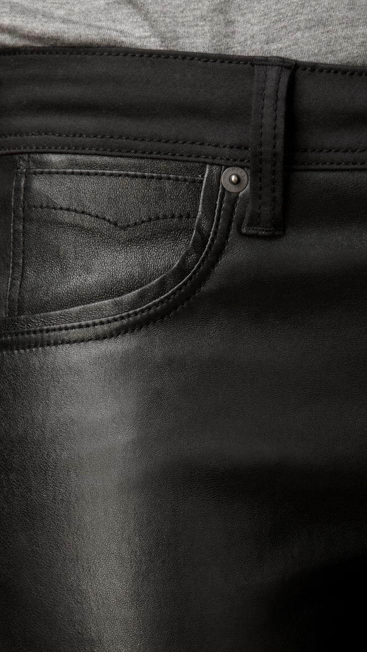 Jeans com corte skinny revestido de couro e cós regular | Burberry