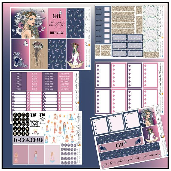 Purple and Navy kit by Aurora and Avalon Creations. For Big and Classic Happy Planners, and Erin Condren.