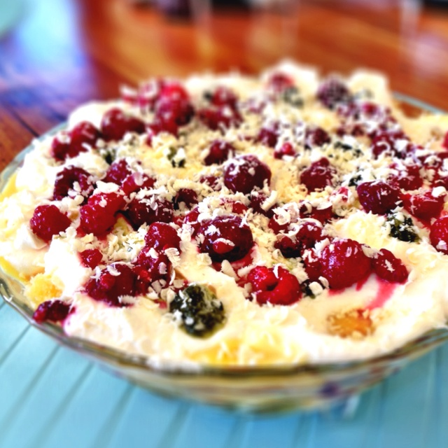 White chocolate and raspberry trifle. | Good Eats: Fruit | Pinterest