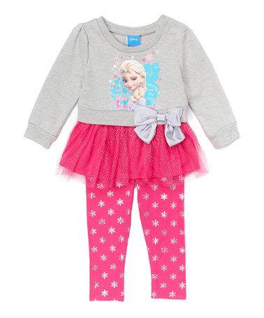 Look what I found on #zulily! Frozen Elsa Gray Sweater & Pink Leggings - Toddler & Girls #zulilyfinds