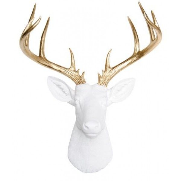 White and Gold Deer Head Décor - Unique Resin Stag Sculpture - Faux Deer Head - Faux Taxidermy