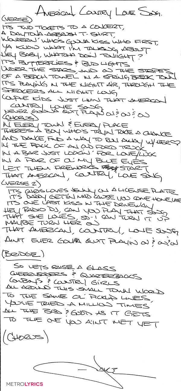 Enter to WIN Handwritten Lyrics From Jake Owen | MetroLyrics