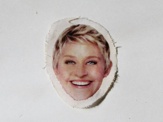 Handmade Ink Transfer Ellen DeGeneres patch by MeticulousPlushery, $2.75