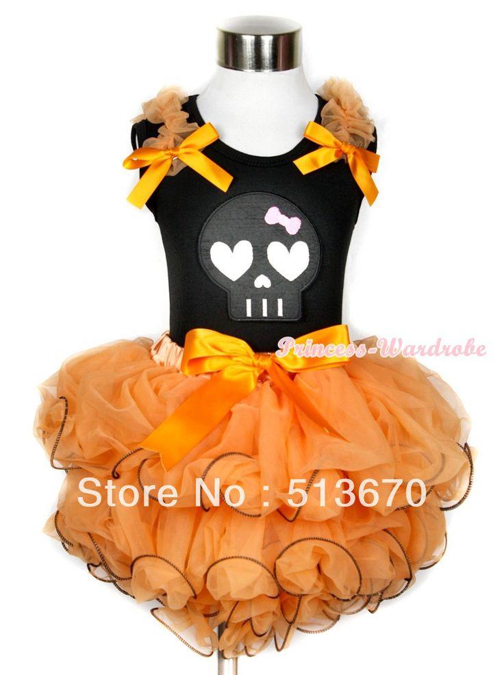 Хэллоуин черная майка с оранжевой оборками и оранжевый луки и черный скелет печать оранжевый с бантом оранжевый лепесток юбка MAMW250