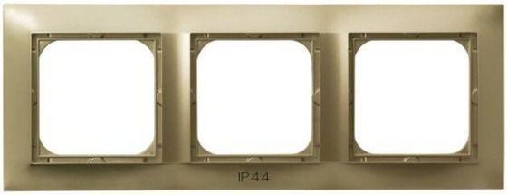 Ramka potrójna do łączników IP-44  Ospel Impresja - Złoty Metalik - RH-3Y/28