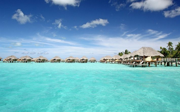 Download wallpapers Bora-Bora, Ocean, resort, bungalow, houses over the water, palm trees, summer, beach