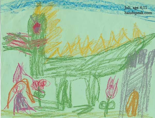 a drawing of dragon by kid