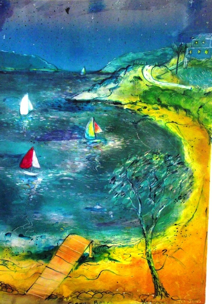 inks, oil paint, yeppoon beach, cooee beach, brett whiteley inspired