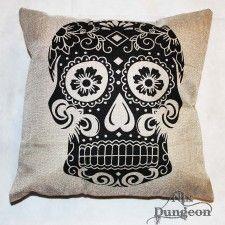 Black on White Sugar Skull Cushion