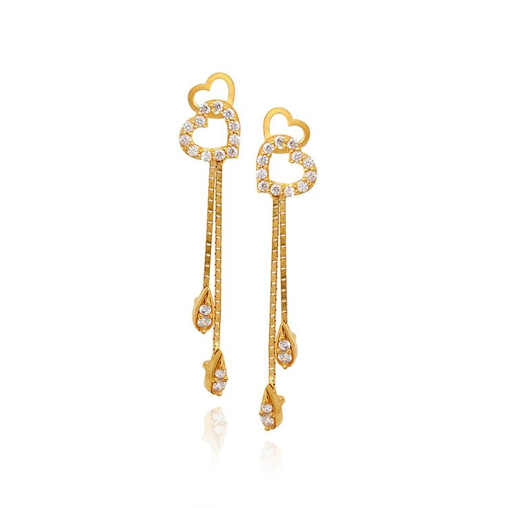 22kt Hanging Hearts With Dancing Drops Gold Earrings