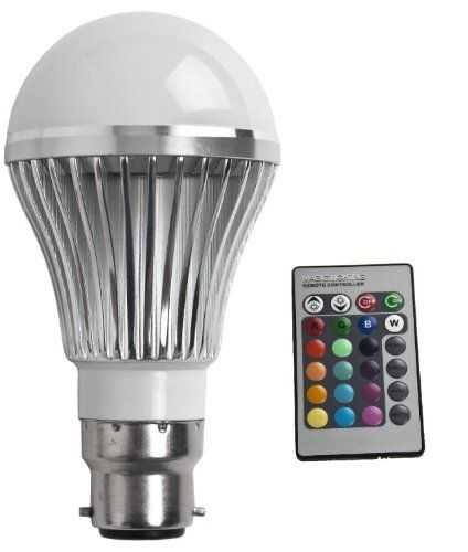BC B22 Remote Controlled 16 Colour Changing Light Bulb LED Low Energy Saving 5w With Memory & Dimmer Function 240v Bayonet Cap Fitting: Amaz...