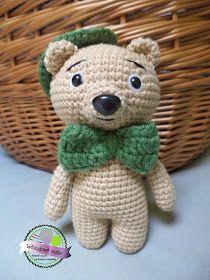 Crochet teddy bear with hat  Szydelkowy miś w kapeluszu