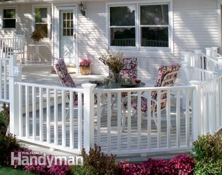 Vinyl posts, railings and balusters: Vinyl railings retain a crisp white appearance and are easy to clean. They're hollow and typically require more parts for assembly. No-Maintenance Deck Railings: http://www.familyhandyman.com/decks/railing/no-maintenance-deck-railings/view-all