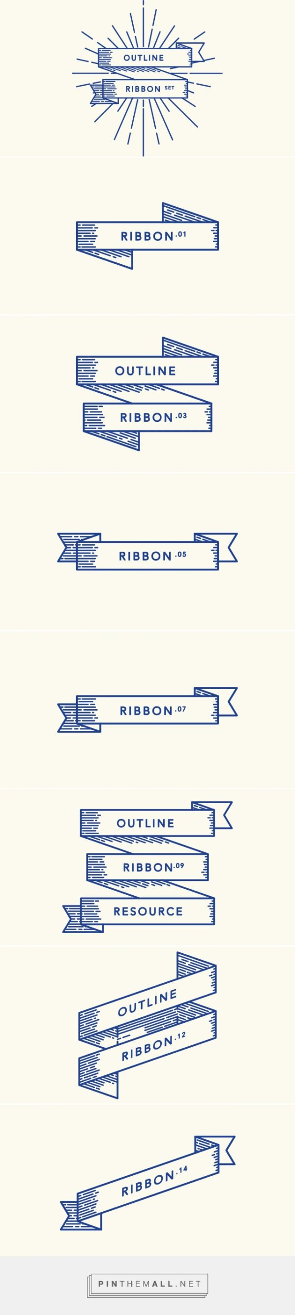 Retro Outline Ribbon Vector Set | Decorative Vectors | Pixeden - created via http://pinthemall.net